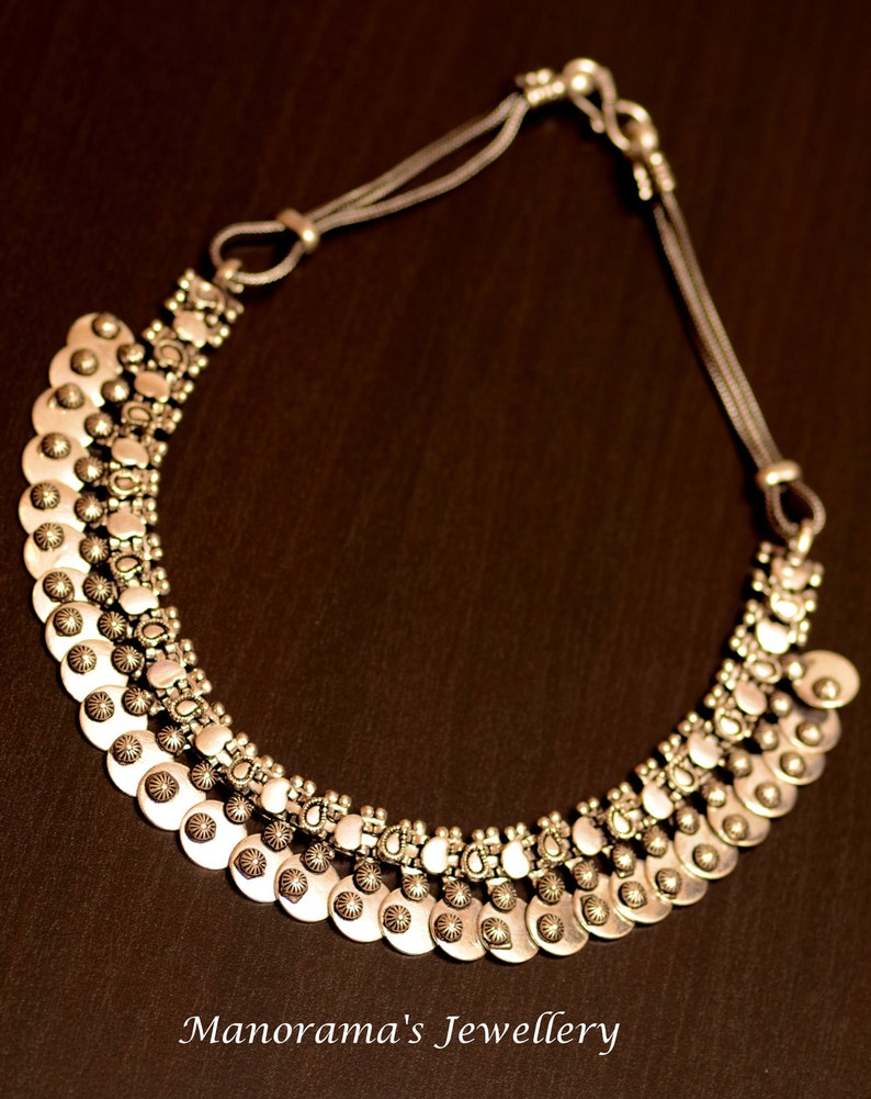 Beautiful,Stylish Antique Silver Finish Necklace,Statement Jewelry,Tribal Necklace,Ornate Design,Rope Necklace,Choker,Manoramas