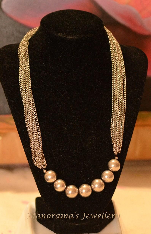 Silver Matt Finish Beads Barrel Beads Multi Layer Necklace Ananya Series-Beautiful /& Stylish Statement Jewelry Manorama/'s Silver Chains