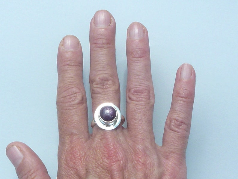 clean round ring ring size 57 925 Sterling Silver Star Ruby ring rubistar Ruby star gemstone jewelry purple stone ring ruby ring woman