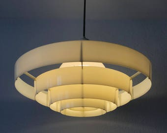 1 of 5 Extremely Rare and Huge Modernist Pendant Lamp   Chandelier 'SATURNO'   Manufactured by SIEMENS & SCHUCKERT, 1930s-50s, Germany