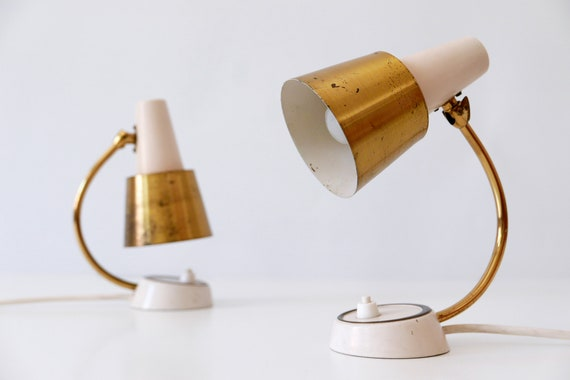 Set Of Two Lovely Mid Century Modern Bedside Table Lamps Etsy