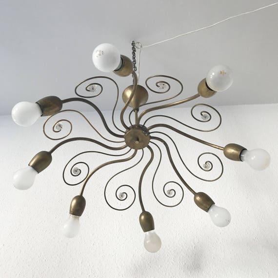 Large And Elegant Mid Century Modern Sputnik Lobmeyr 8 Armed Brass Chandelier Pendant Lamp J T Kalmar Era 1950s