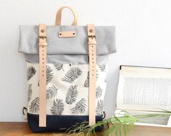 349c92cc07c Rucksack,Roll Top Backpack with Areca Leaf print,Backpack Women, Bag, Gift  For Her, Block Print Fabric, Denim bottom, Linocut