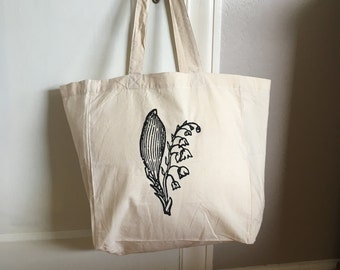 Market Tote Bag - Lily of the Valley - Cotton Tote - Reusable Grocery Bag - Book Bag - Beach Bag