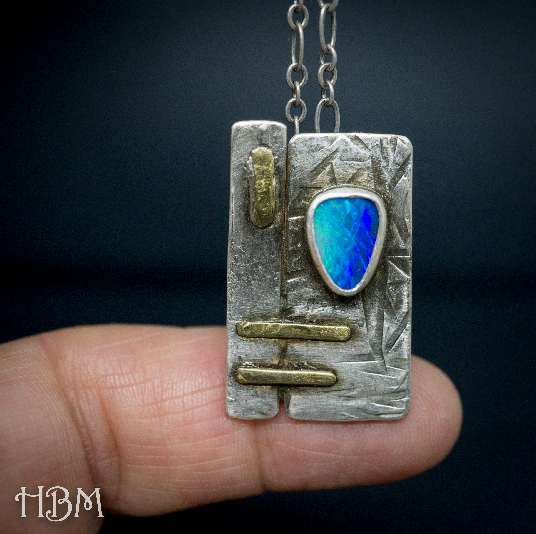 Australian Blue Opal Necklace Pendant