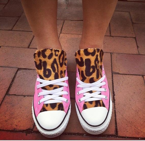 Chaussures Converse imprimé léopard rose