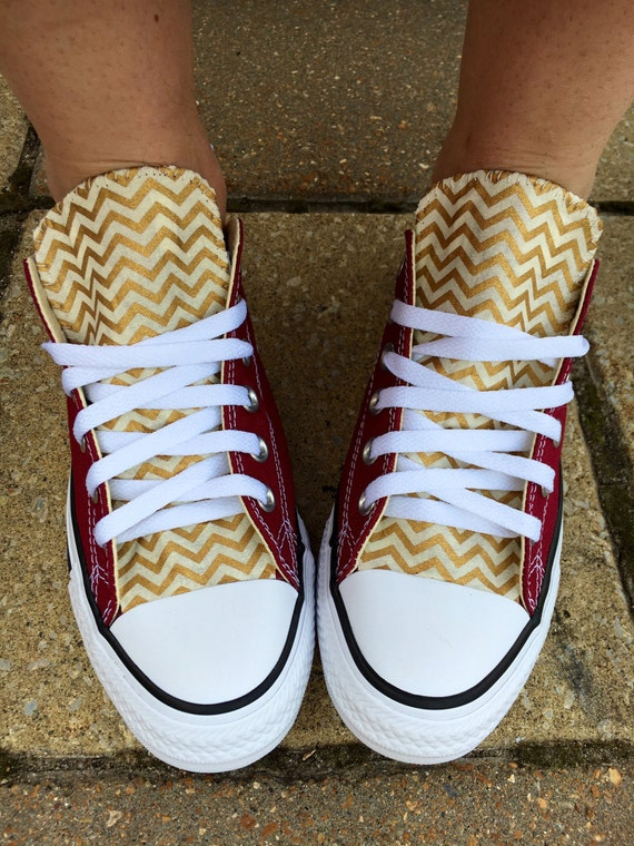 Chevron Converse Shoes Burgundy and