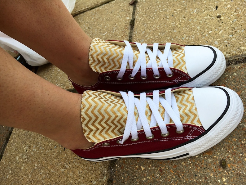 7a83f713938f Chevron Converse Shoes Burgundy and Gold