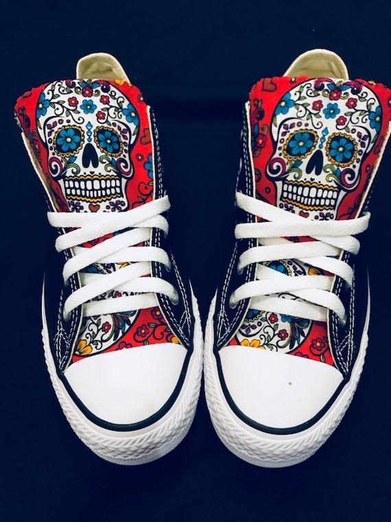 23bc8b98624e71 Sugarskull Converse Chuck Taylor Shoes