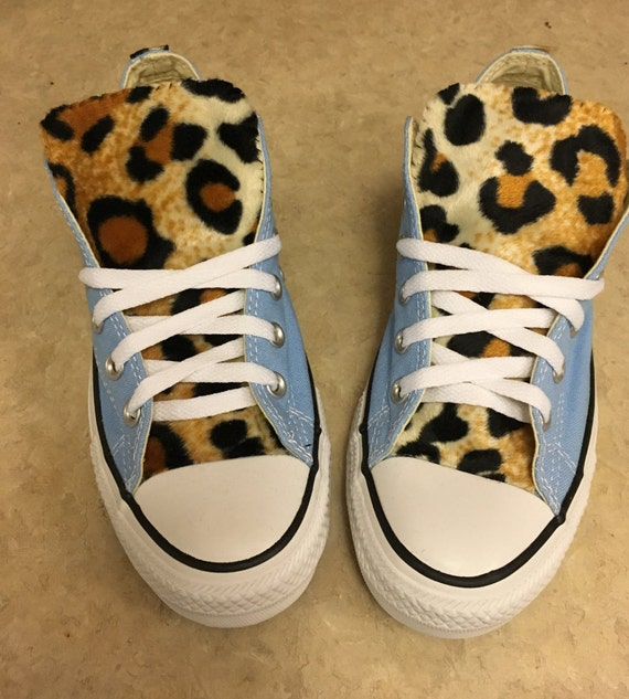 3524bfaa35e6e6 Leopard Print Converse Light Blue Shoes