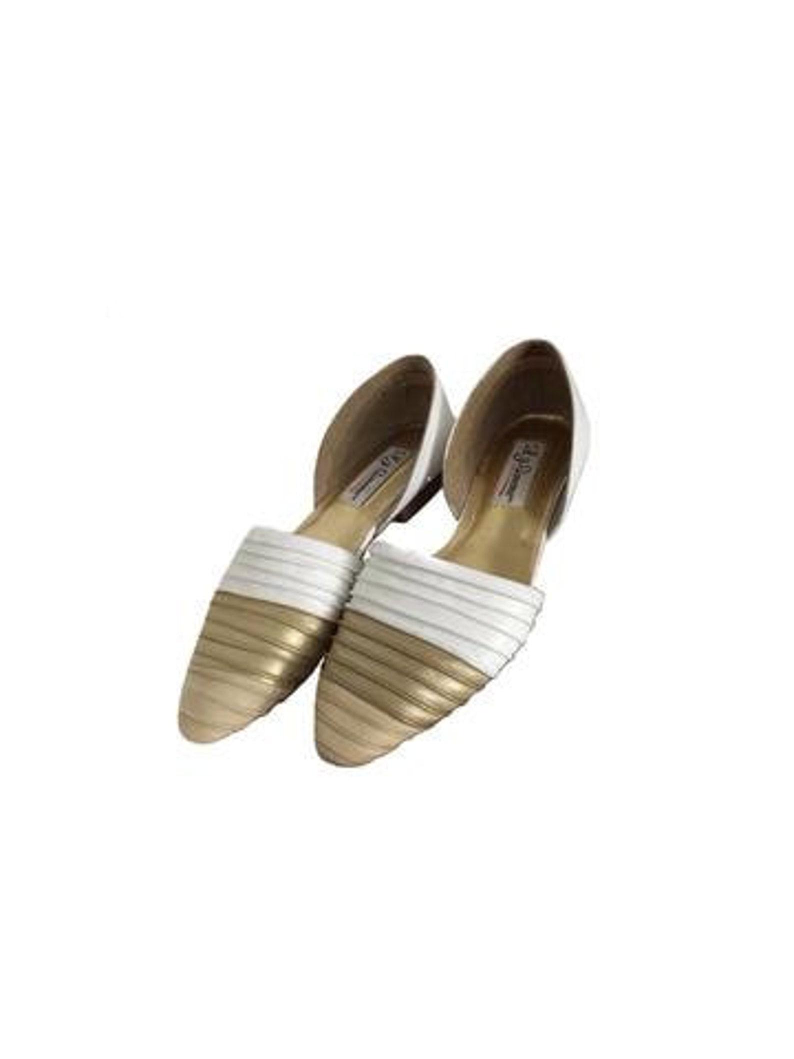 womens vtg lj simone gold beige & white pointed ballet flats size 7.5 | 80s flats | pointed flats | pointed ballet flats | 80s r