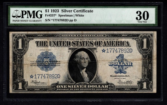 1923 One 1 Dollar Silver Certificate Star Note PMG 30 Fr.237 | Etsy