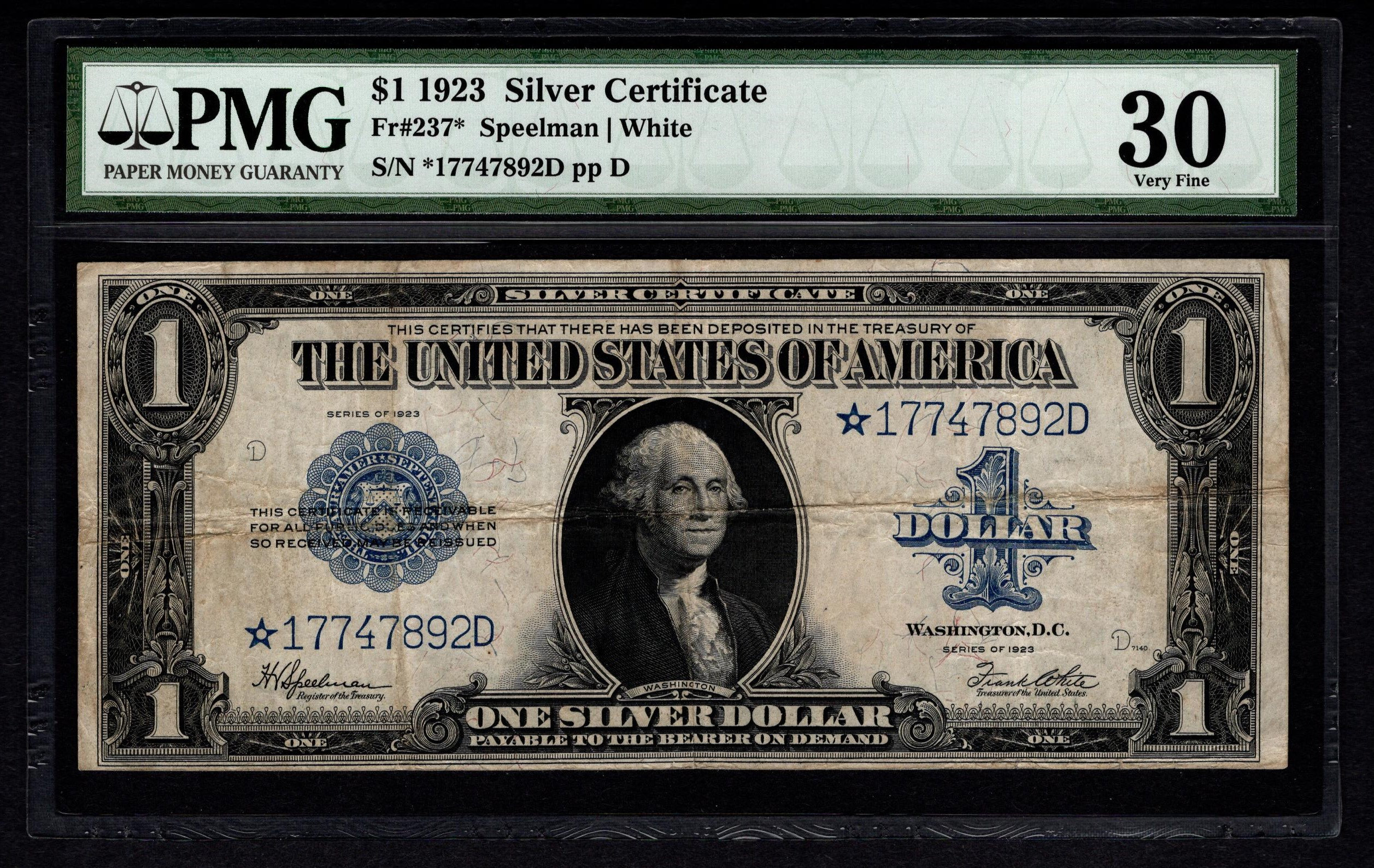 1923 One 1 Dollar Silver Certificate Star Note Pmg 30 Fr237 Etsy