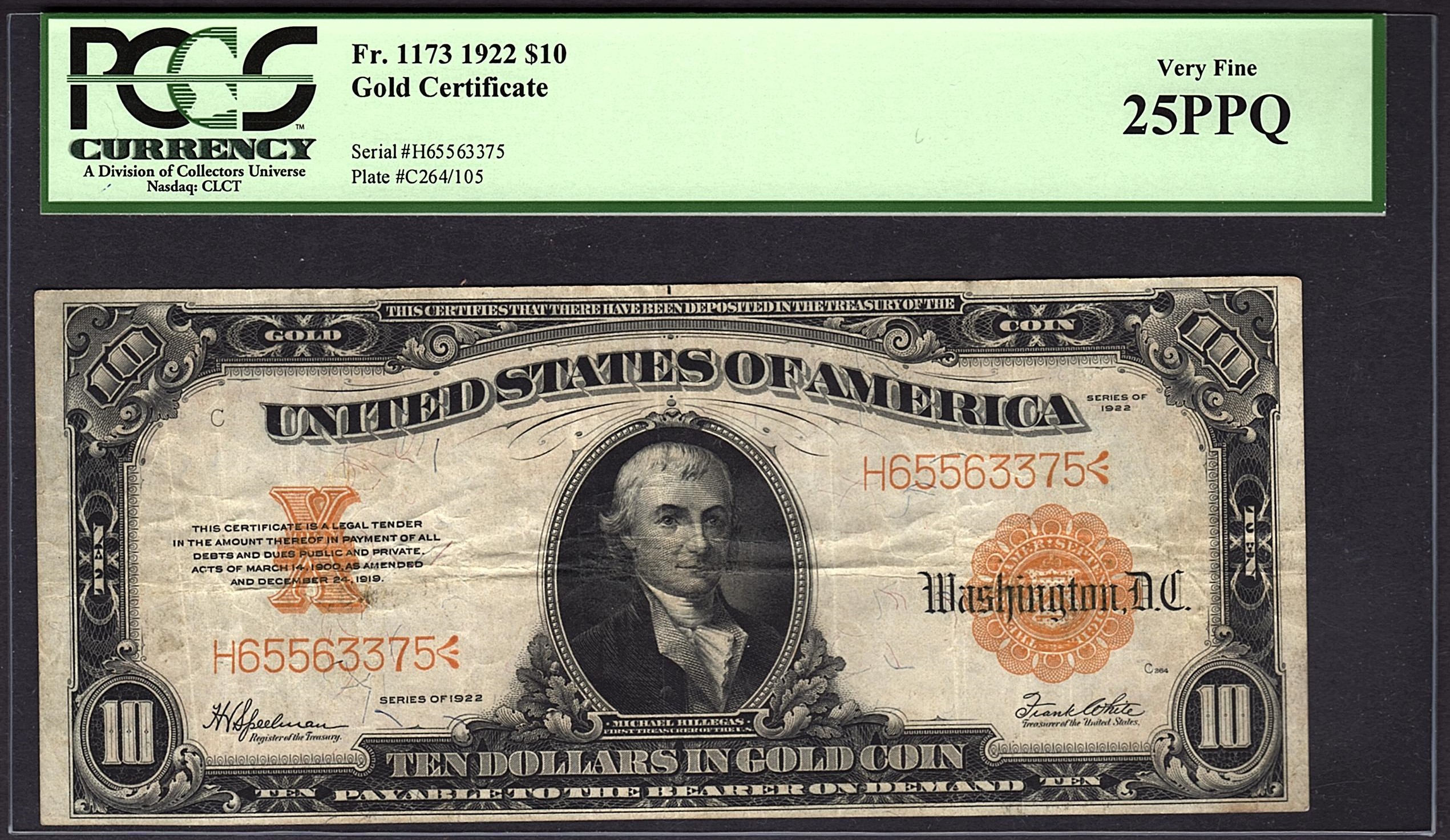 1922 Ten 10 Dollar Gold Certificate Pcgs 25 Epq Fr1173 Item Etsy