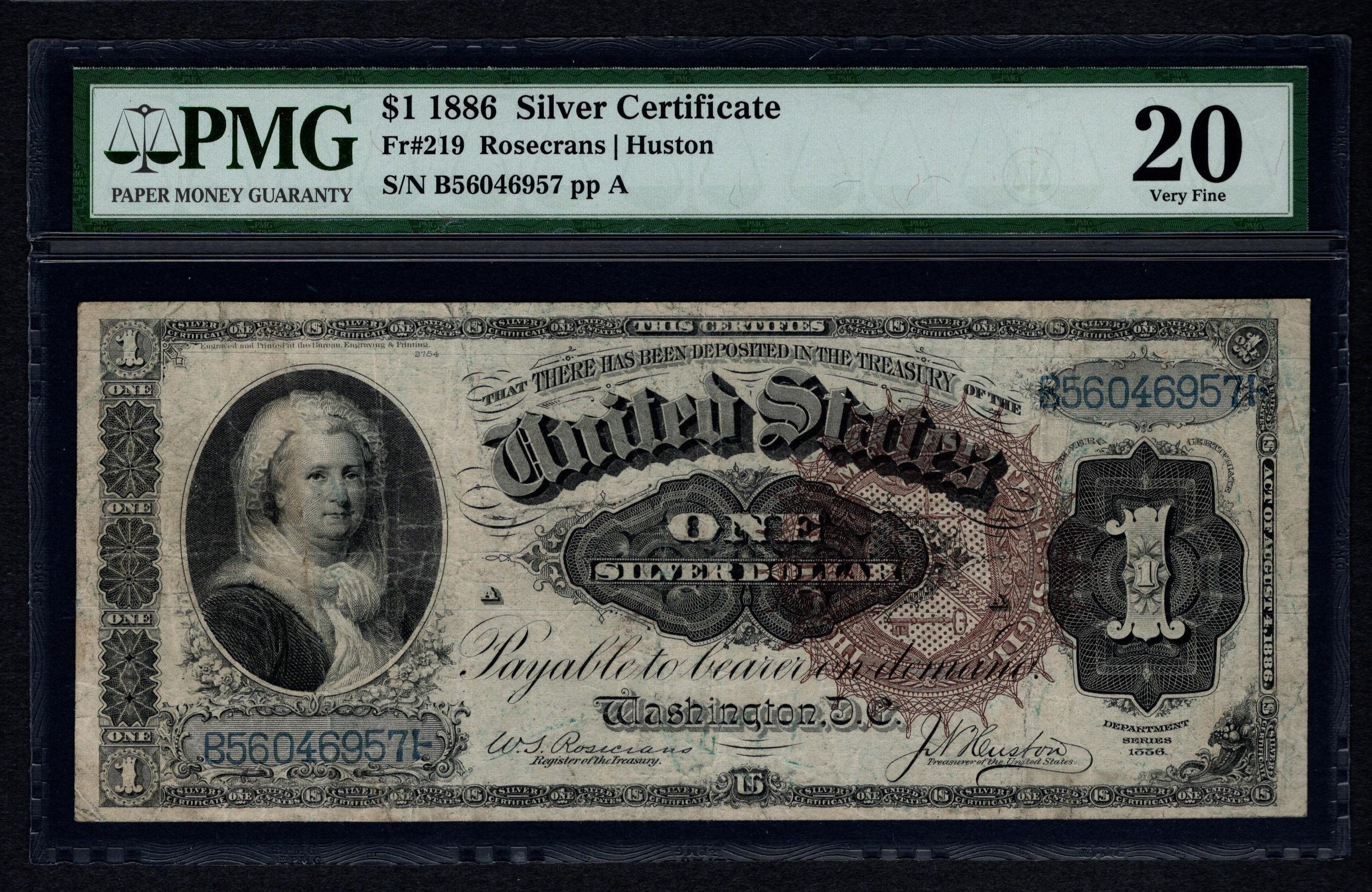 1886 One 1 Dollar Silver Certificate Martha Note Pmg 20 Vf Etsy