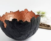 Finalist | in The Etsy Design Awards 'Earth Friendly' category 2019|  Black and copper paper pulp bowl, 100% recycled paper, eco friendly.