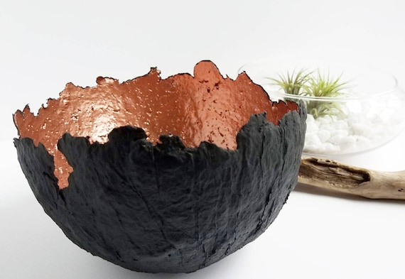 Black and Rose Gold Paper Pulp Bowl