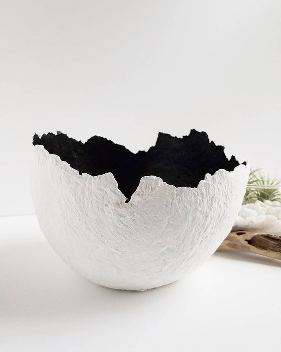 Awesome White And Black Large Coffee Table Bowl Recycled Paper Pulp Bowl Wabi Sabi Home Decor Decorative Tray Minimalist Style Home Decor Large Gmtry Best Dining Table And Chair Ideas Images Gmtryco