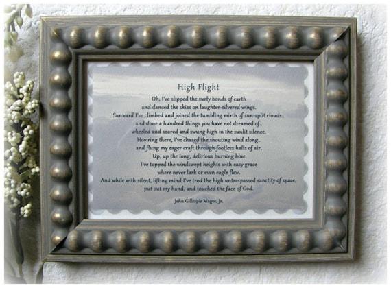 High Flight Poem John Gillespie Magee Jr Pilot Gift Veteran Gift Aviator Quote Grieving Gft Air Force Gft Desk Frame Spitfire Print