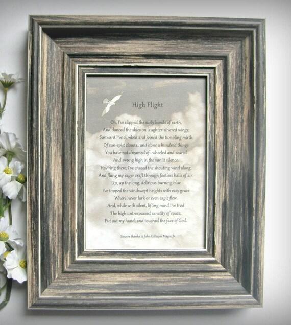 High Flight Poem Fighter Pilot Gift John Gillespie Magee Love Of Flight Pilot Gift Veteran Gift Grieving Gift Air Force Usafa