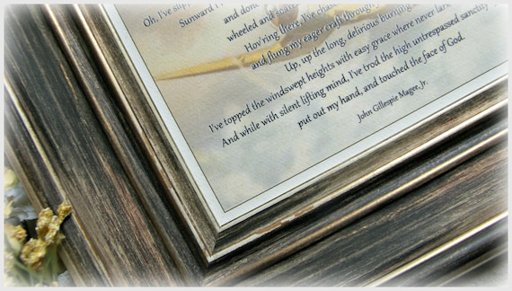 High Flight Poem John Gillespie Magee Jr P 47 Print Pilot Gift Veteran Gift Aviator Quote Grieving Gift Air Force Gift Desk Frame