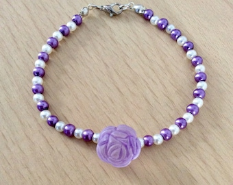 Purple and white ladies bracelet, romantic gift for her