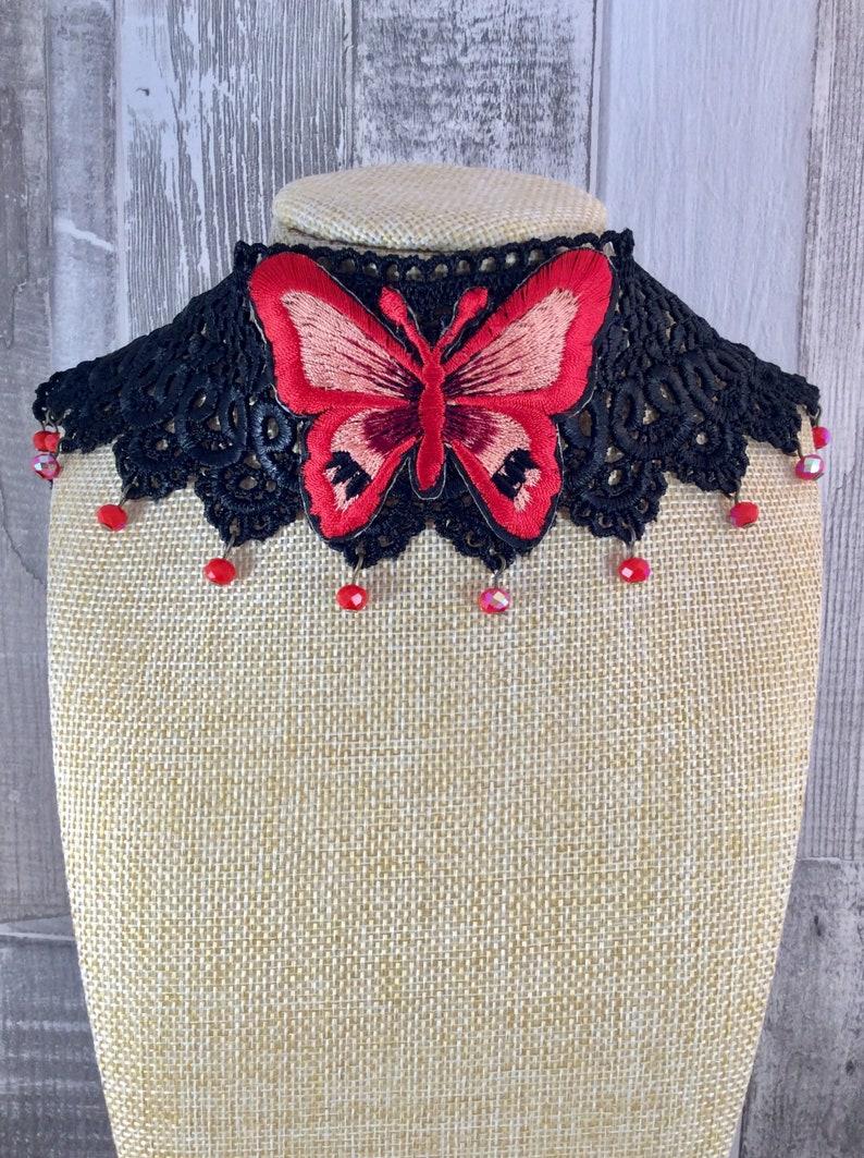 Pagan wedding jewellery Butterfly choker necklace Ladies Kitten play
