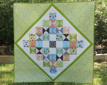 "Mini Granny Quilt in Green 42"" x 42"" for Baby or Toddler"