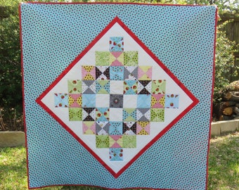 "Mini Granny Quilt in Blue 46"" x 47"" for Baby or Toddler"