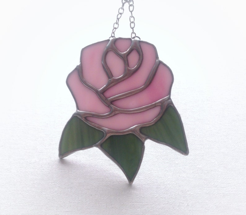 girlfriend present birthday wife Valentine for her pink rose Stained glass flower gift