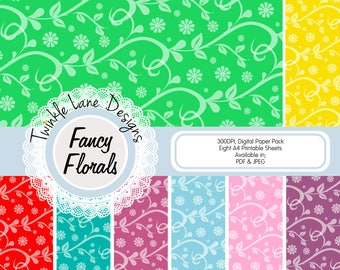 Floral Print, Digital Papers, Eight A4 Pages, Vibrant, Flowers, Leaves, Swirls, Papercrafting Kit, Papercraft, Digital Paper Pack, Printable