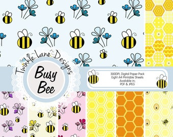 Bumble Bee, Digital Paper Pack, Papercrafting Paper, Hexagon Print, Geometric, Honeycomb, Honey Bees, Eight A4 Pages, Papercraft Kit, Prints