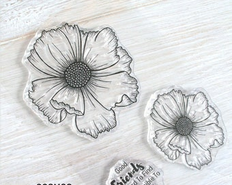Set Of Two Floral Stamps, Clear Stamp Sets