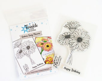 Gerbera Daisy, Flower Stamp, Clear Stamps