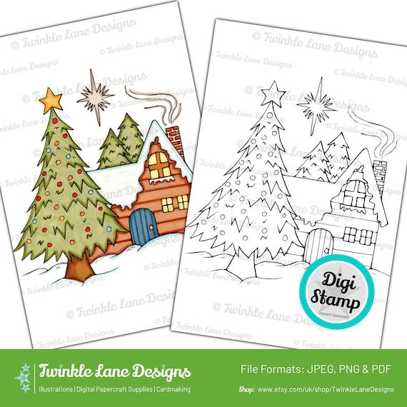 The Christmas Lodge.Christmas Lodge Digi Stamp Instant Download