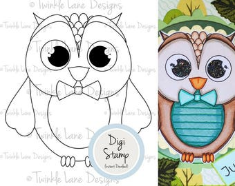 Digital Owls Clipart, Digi Stamp, Owl, Bird, Colouring Page, Black and White, Owlet, Barn Owl, Papercrafting Stamp, Papercraft, Hoot, Male