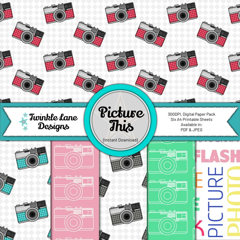 Picture This Photography Digital Paper Instant Download image 0
