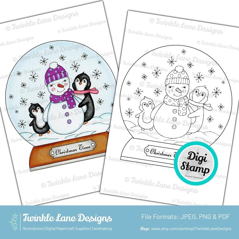 Penguin Snowglobe  Digi Stamp  Instant Download image 0