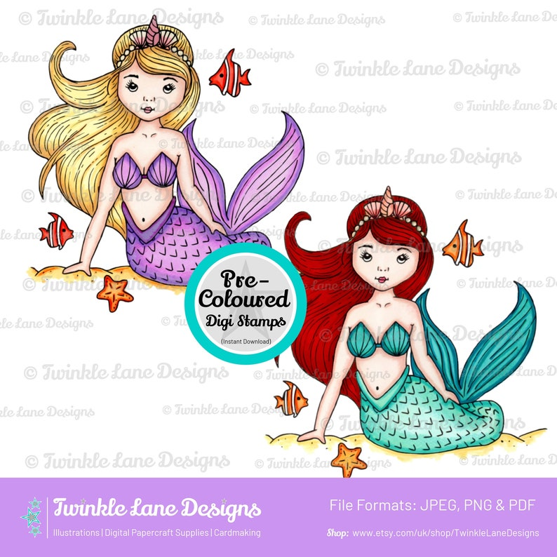 Coloured Mermaids Digi Stamps  Instant Download image 0