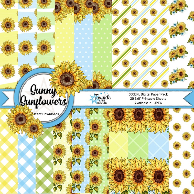 Sunny Sunflowers Digital Papers image 0