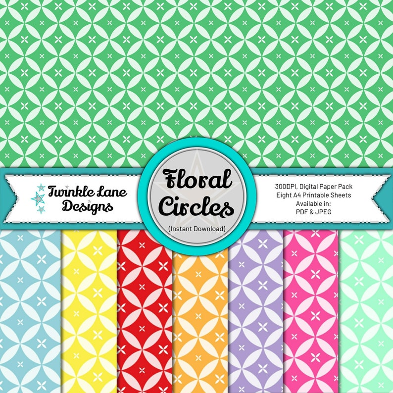 Floral Circles Digital Papers  Instant Download image 0