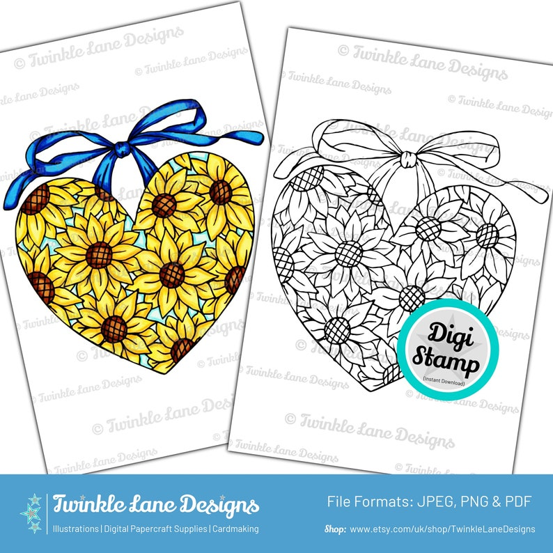Floral Heart Digi Stamp  Instant Download image 0
