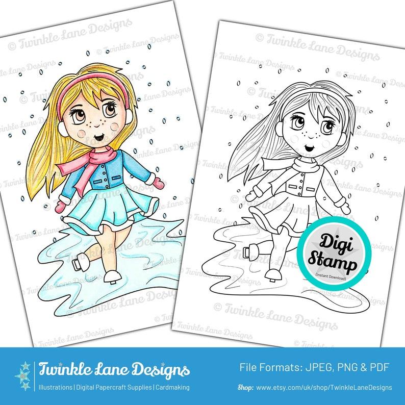 Ice Skater Digi Stamp  Instant Download image 0