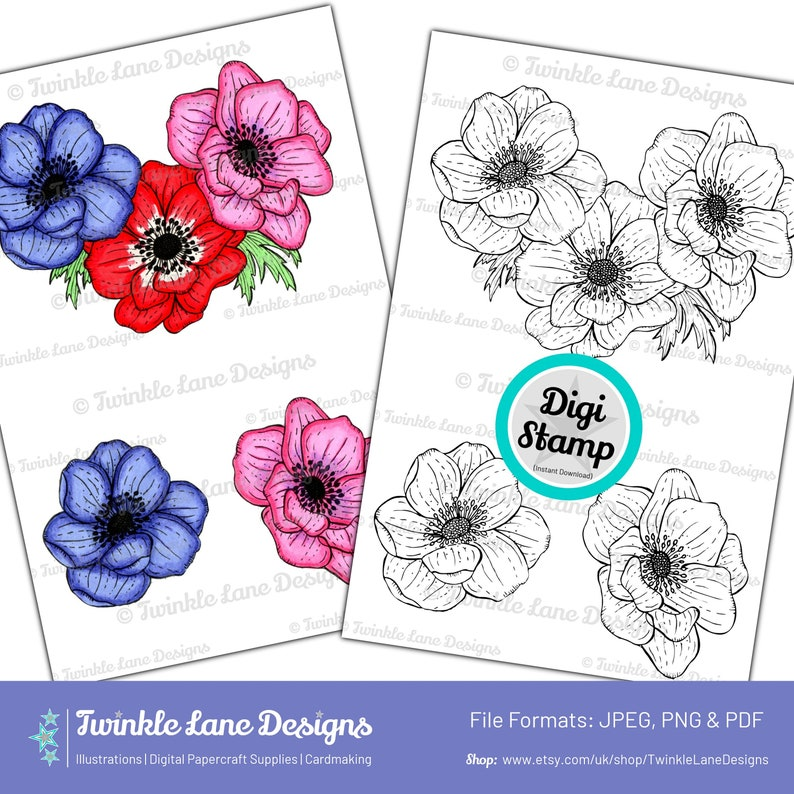 Anemone Flowers Digi Stamp  Instant Download image 0