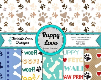 Puppy Love, Digital Papers - Instant Download