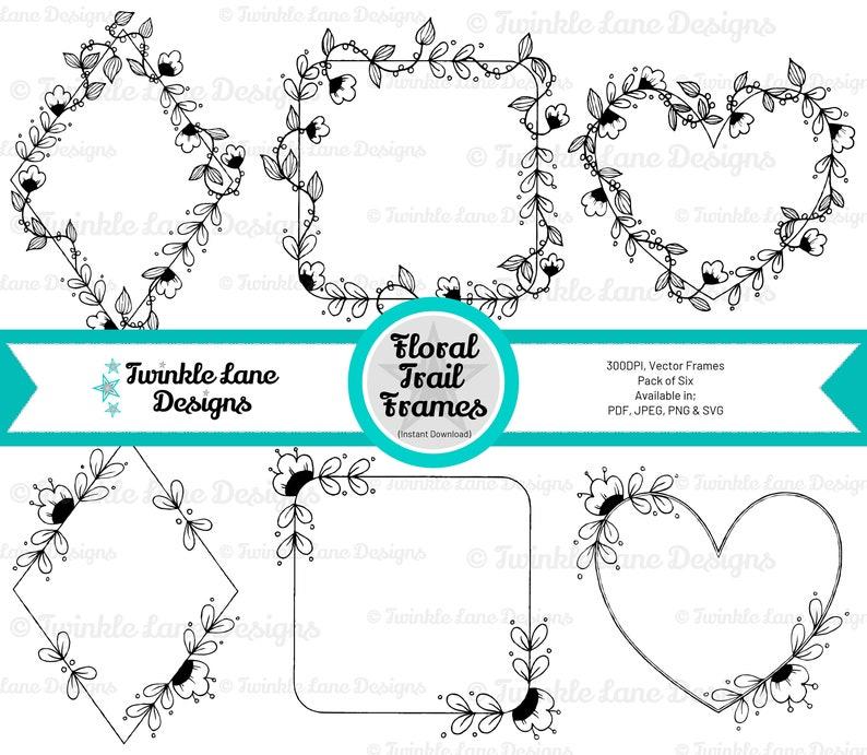 Floral Trail Frames SVG  Instant Download image 0