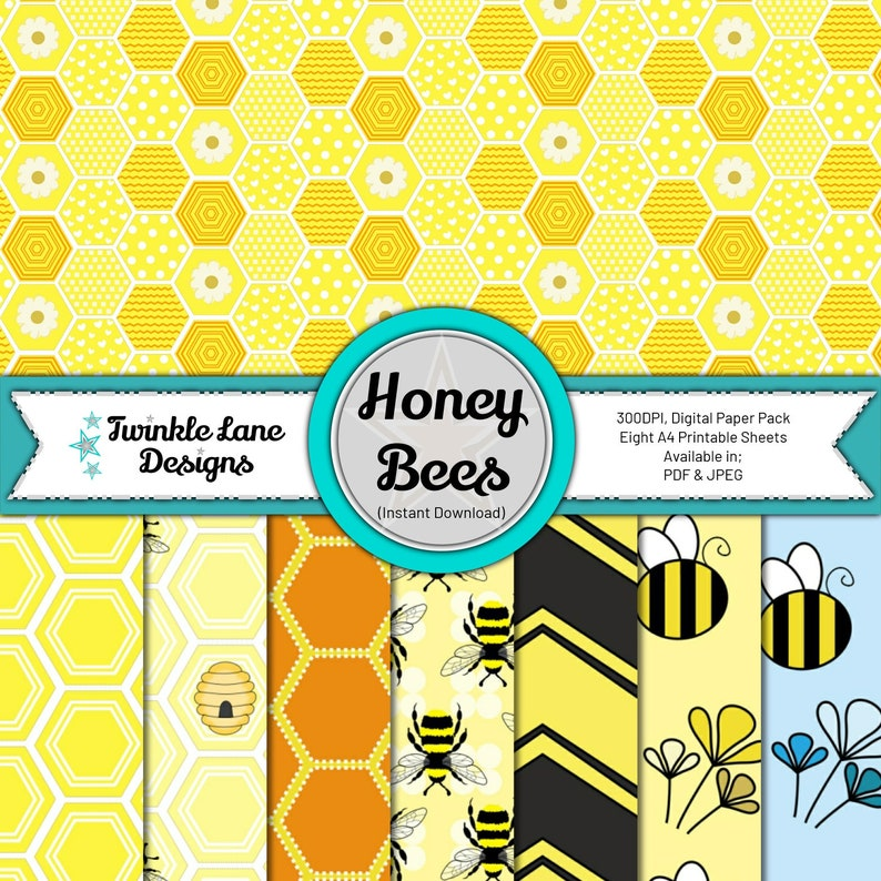 Honey Bees Digital Papers  Instant Download image 0