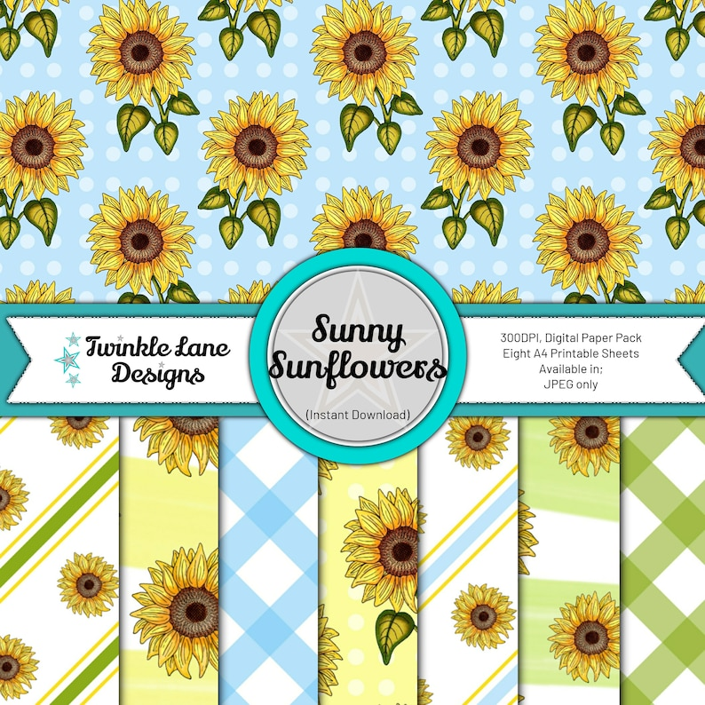 Sunny Sunflowers Digital Paper Pack  Instant Download image 0