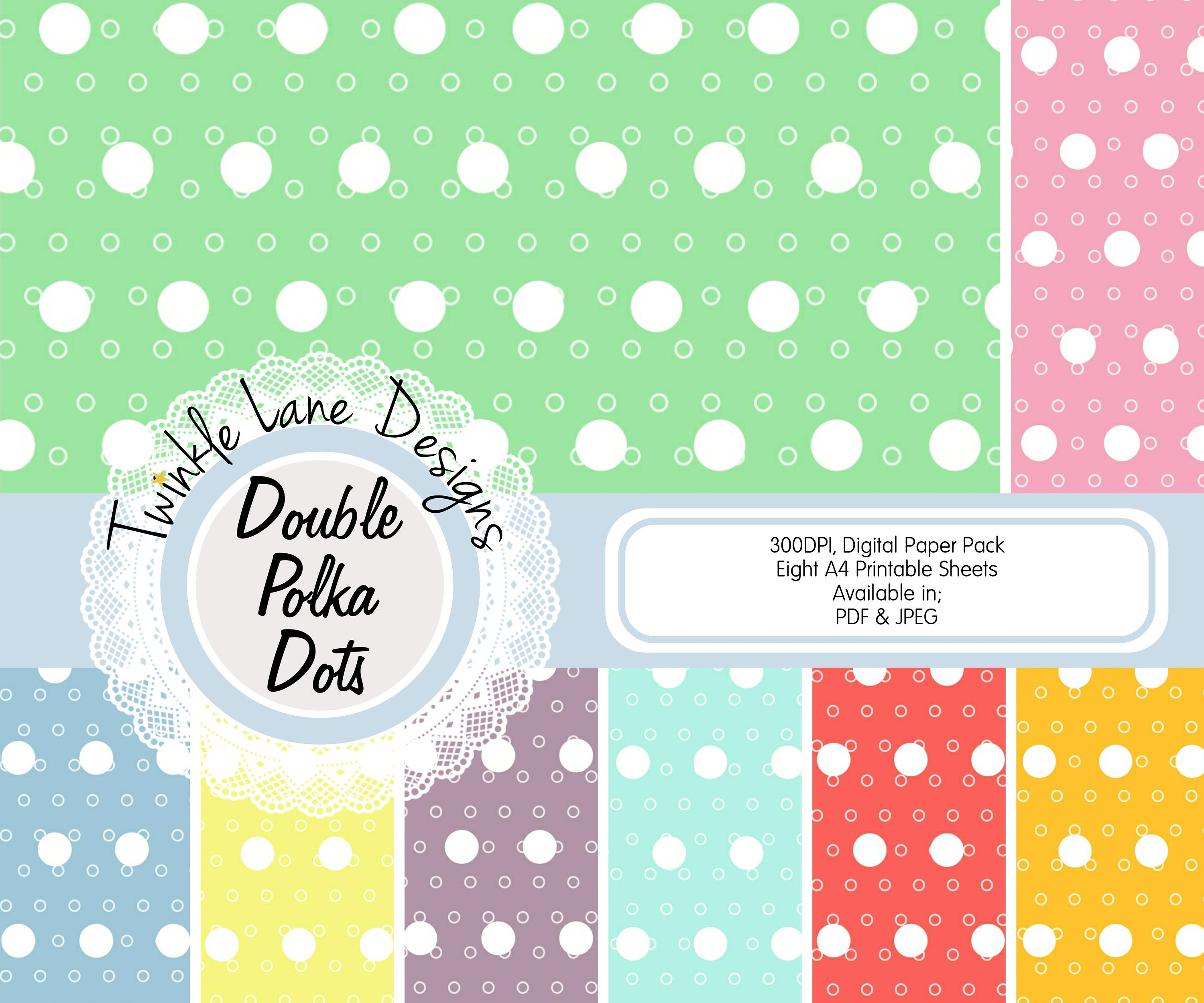 Polka Dots Digital Papers Eight A4 Pages Spots Double