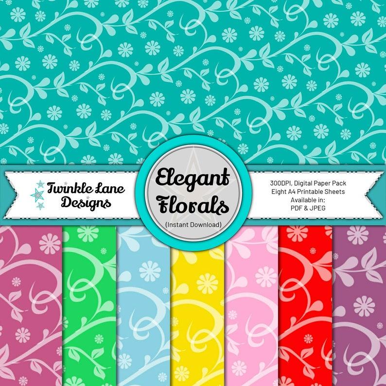 Elegant Florals Digital Papers  Instant Download image 0